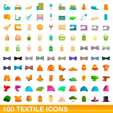 100 textile icons set, cartoon style