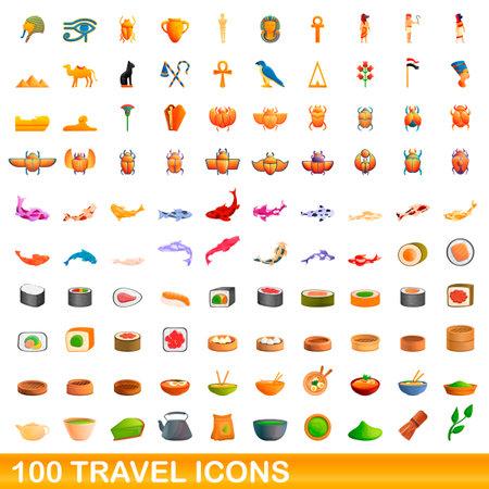 100 travel icons set, cartoon style 일러스트