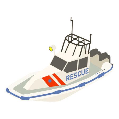 Rescue ship icon, isometric style