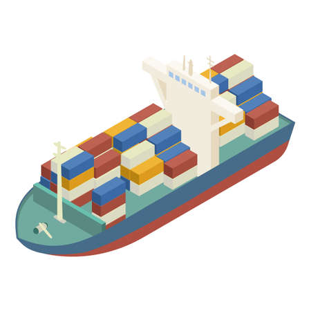 Container ship icon, isometric style