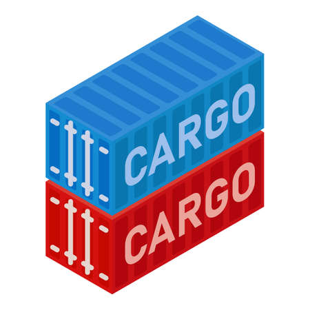 Port containers icon, isometric style