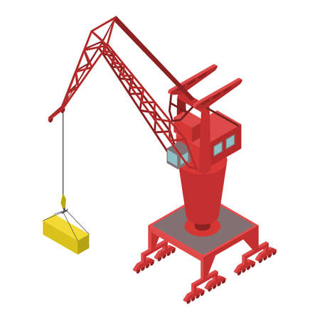 Port container crane icon, isometric style Ilustracja