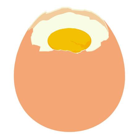 Fresh boiled egg icon, isometric style