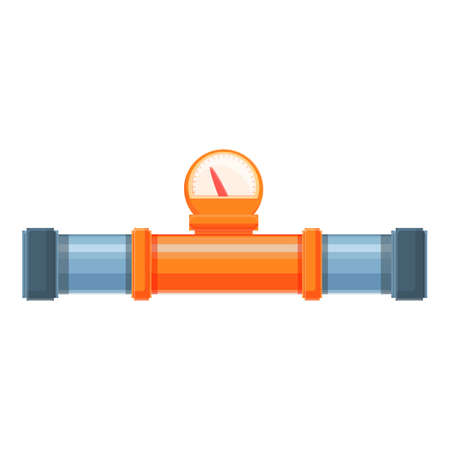 Hot water pipe icon, cartoon style