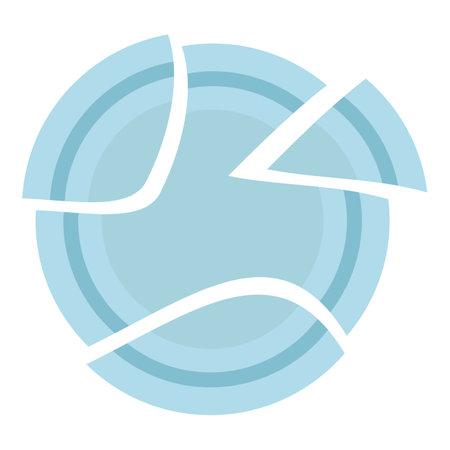 Broken plate icon, cartoon style