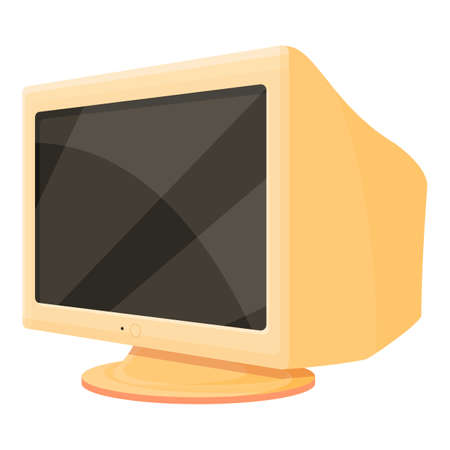 Old monitor icon, cartoon style