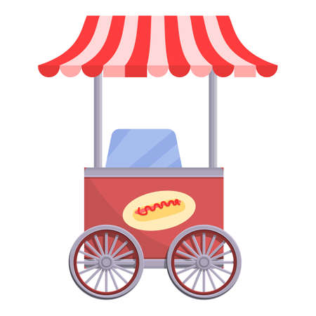 Hot dog truck icon, cartoon style