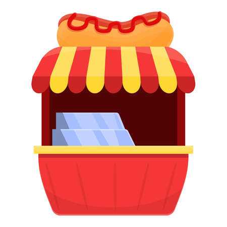 Hot dog shop icon, cartoon style