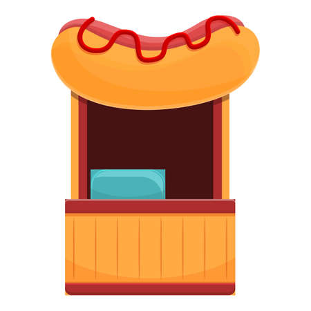 Street hot dog shop icon, cartoon style