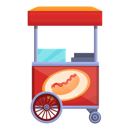 Hot dog street snack icon, cartoon style