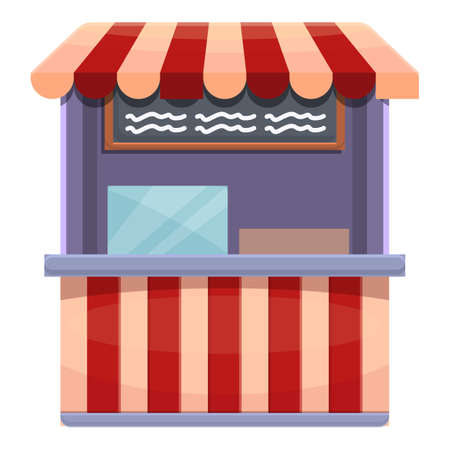 Hot dog outdoor shop icon, cartoon style Ilustracja