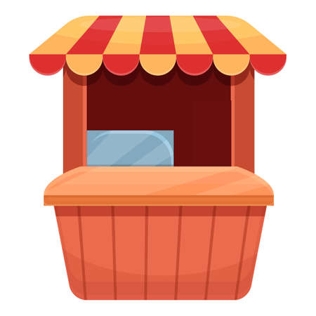 Street food vending stand icon, cartoon style