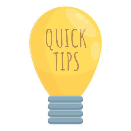 Bulb idea tips icon, cartoon style Ilustracja