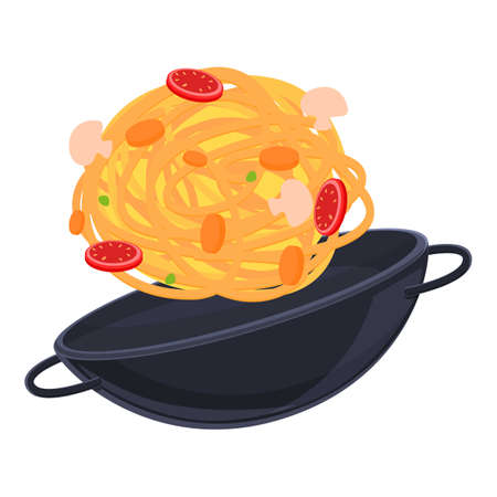 Wok frying pan icon, cartoon style Ilustracja
