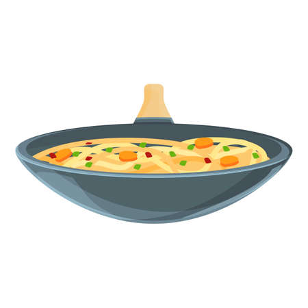 Fry wok pan icon, cartoon style
