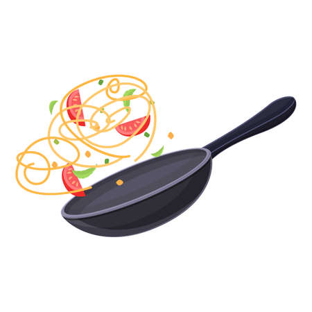 Wok cooking pan icon, cartoon style Ilustracja