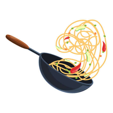 Iron wok pan icon, cartoon style