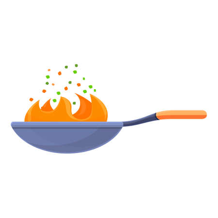 Fire wok pan icon, cartoon style