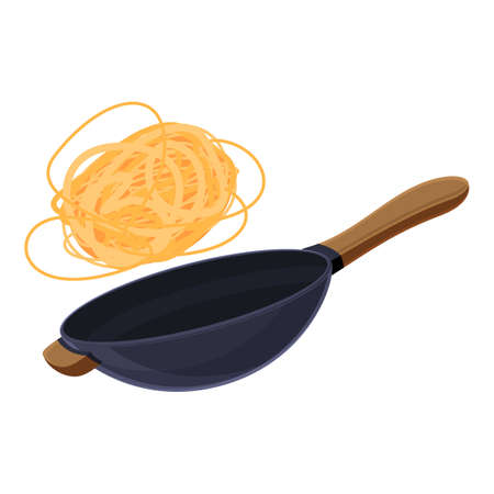 Noodles wok pan icon, cartoon style Ilustracja