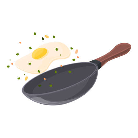 Wok pan dish icon, cartoon style Ilustracja
