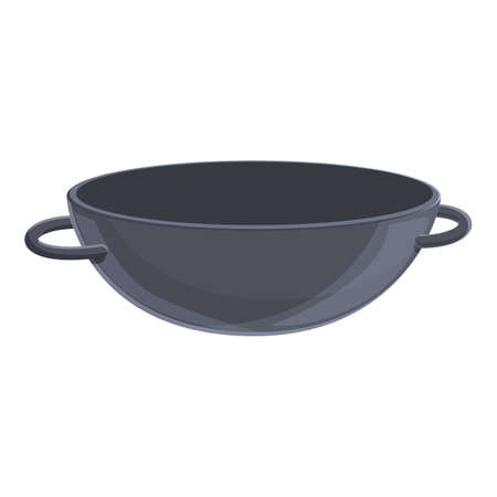 Empty wok pan icon, cartoon style