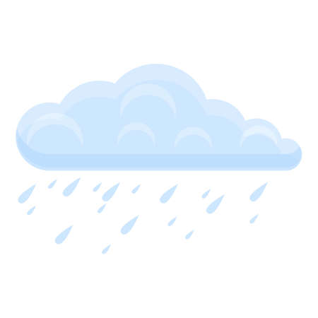 Raining cloud icon, cartoon style