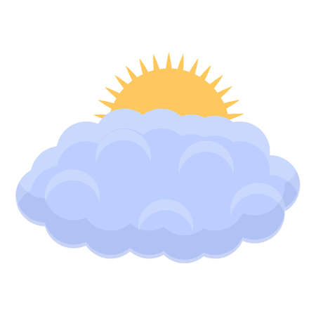 Sun and cloud icon, cartoon style
