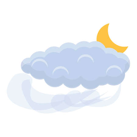 Moon cloud icon, cartoon style Ilustracja