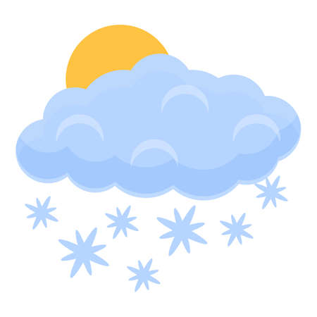 Snowing cloud icon, cartoon style