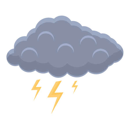 Cloud lightning icon, cartoon style