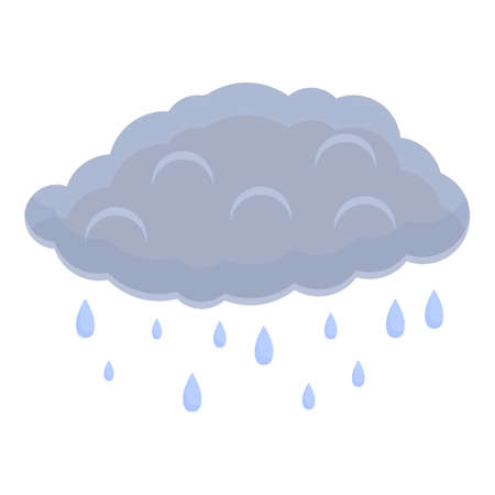 Rain drops cloud icon, cartoon style
