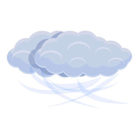 Cloud and wind icon, cartoon style