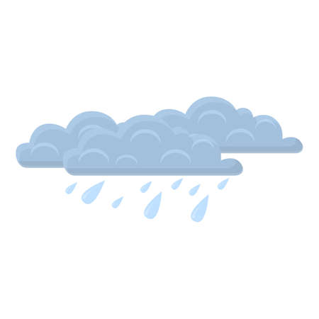 Overcast rain icon, cartoon style