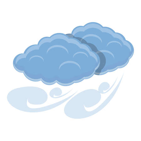 Blowy clouds icon, cartoon style