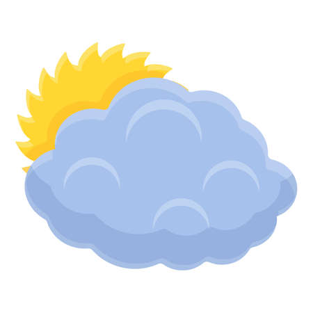 Sun behind cloud icon, cartoon style