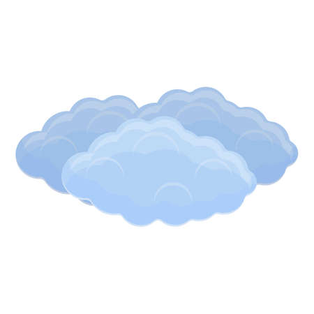 Puffy clouds icon, cartoon style