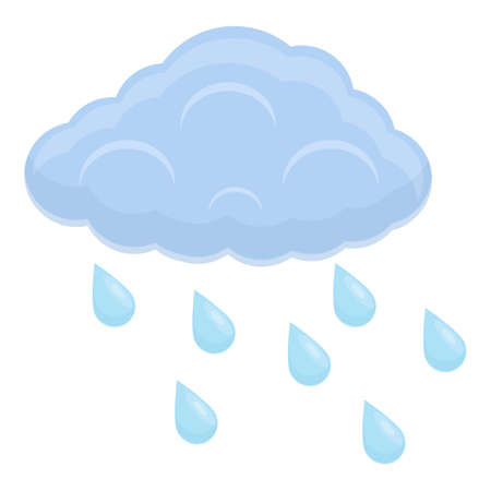 Rainy weather icon, cartoon style