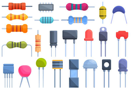 Resistor icons set, cartoon style Ilustracja