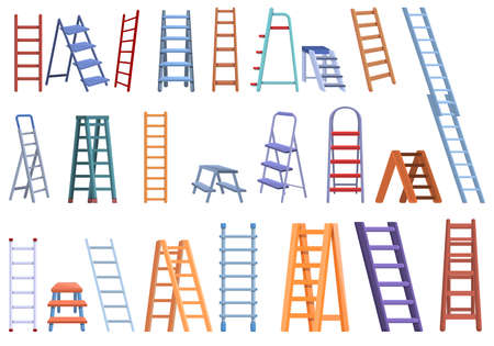 Step ladder icons set, cartoon style