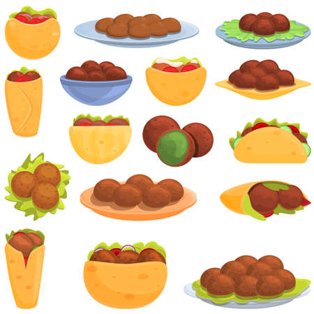 Falafel icons set, cartoon style