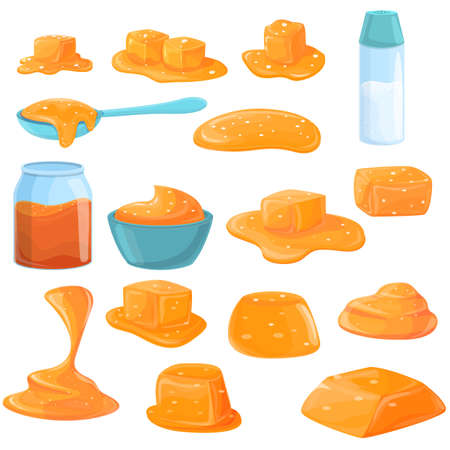 Salted caramel icons set, cartoon style Ilustracja