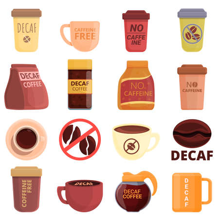 Decaffeinated coffee icons set, cartoon style
