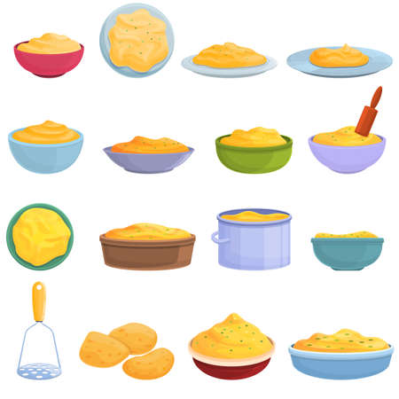 Mashed potatoes icons set, cartoon style