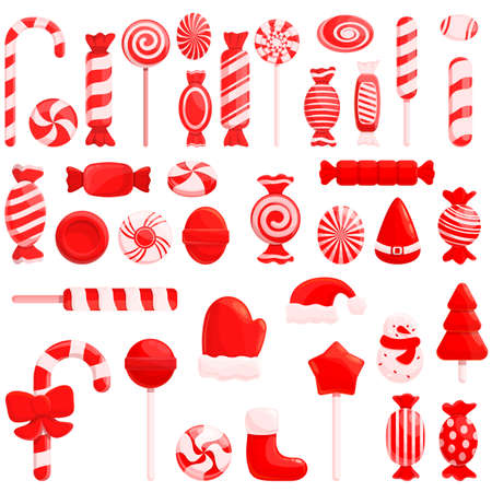 Christmas candy icons set, cartoon style