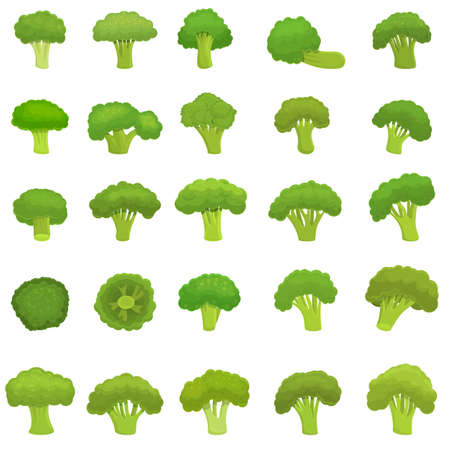 Broccoli icons set, cartoon style Ilustracja