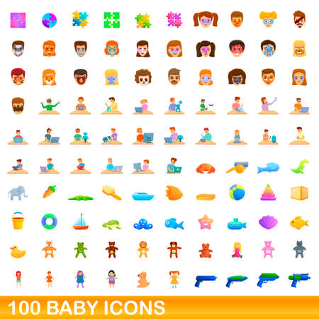 100 baby icons set, cartoon style 向量圖像