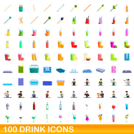 100 drink icons set, cartoon style