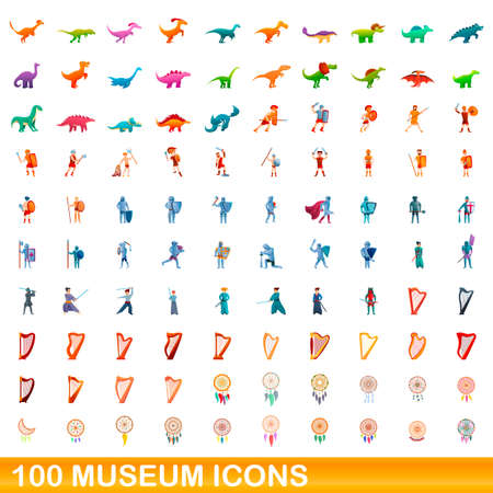 100 museum icons set, cartoon style Vectores