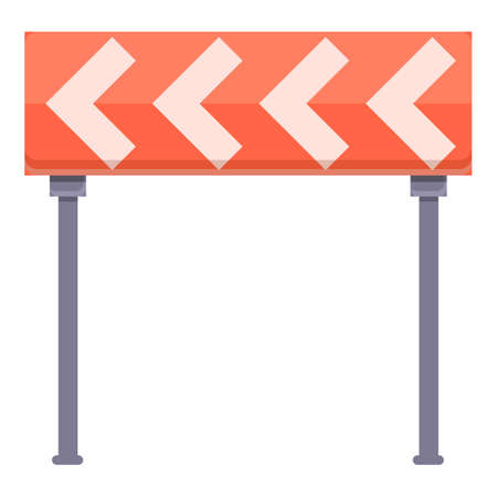 Highway construction road curbe icon, cartoon style