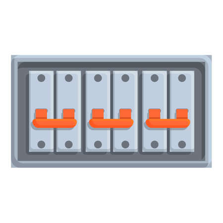 Press breaker switch icon, cartoon style